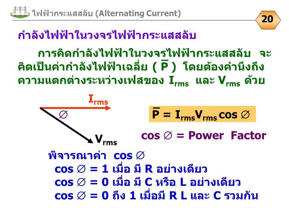 ไฟฟ้ากระแสสลับ (Alternating Current) 20 กำลังไฟฟ้าในวงจรไฟฟ้ากระแสสลับ I rms V rms  cos  = Power Factor พิจารณาค่า cos  cos  = 1 เมื่อ มี R อย่างเ