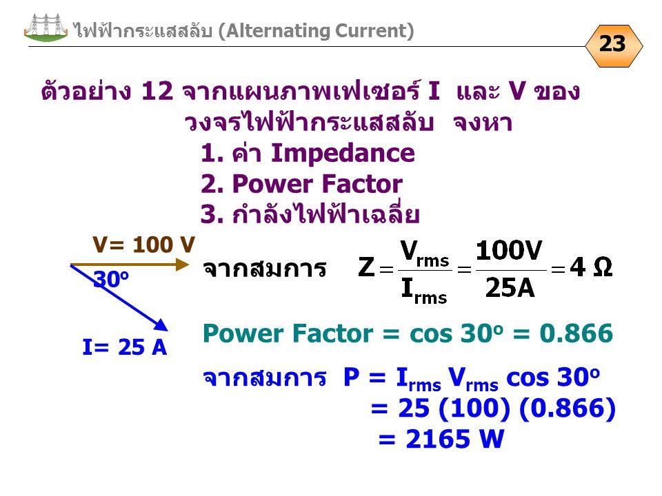 ไฟฟ้ากระแสสลับ (Alternating Current) 23 ตัวอย่าง 12 จากแผนภาพเฟเซอร์ I และ V ของ วงจรไฟฟ้ากระแสสลับ จงหา 1. ค่า Impedance 2. Power Factor 3. กำลังไฟฟ้