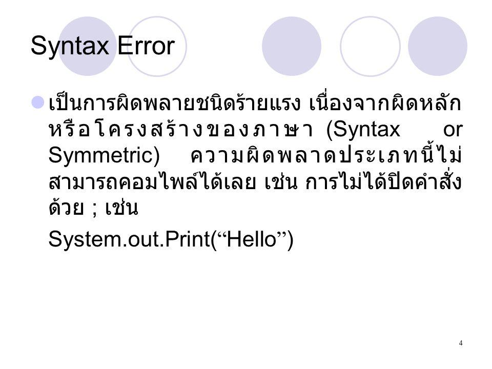 5 Run – Time Error  เป็นความผิดพลาดที่ไม่ร้ายแรง ความผิดพลาด ประเภทนี้โปรแกรมสามารถคอมไพล์ได้ แต่ run ไม่ได้ เช่น การหารด้วย 0 หรือการอ้างขอบเขต ของ Array เกินกว่าที่กำหนดไว้ 1.class TestError { 2.public static void main(String s[]){ 3.System.out.Print( Hello +s[0]); 4.} 5.}