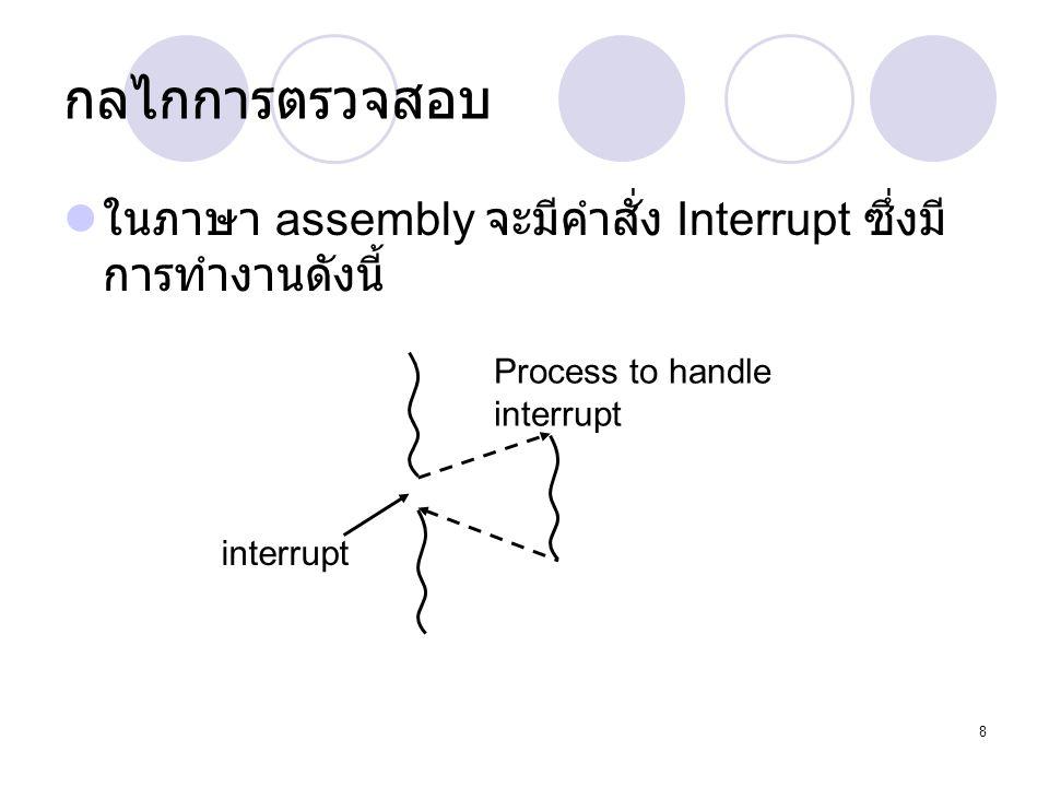 8 กลไกการตรวจสอบ  ในภาษา assembly จะมีคำสั่ง Interrupt ซึ่งมี การทำงานดังนี้ interrupt Process to handle interrupt