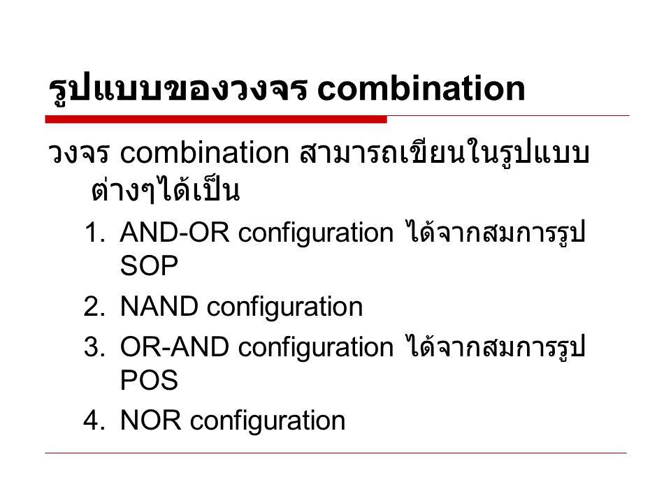 AND-OR configuration ได้จาก สมการรูป SOP ตัวอย่าง หมายเหตุ เนื่องจากไม่มีไอซี ออร์เกต ชนิด 4 อินพุต ผลิตออกมาใช้งาน