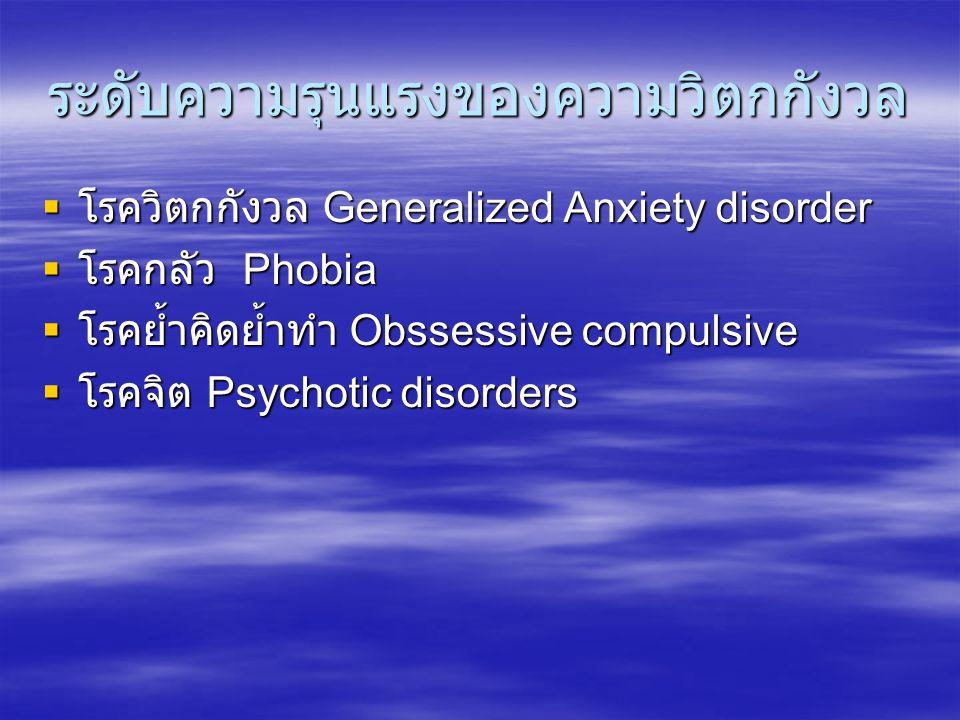 ระดับความรุนแรงของความวิตกกังวล  โรควิตกกังวล Generalized Anxiety disorder  โรคกลัว Phobia  โรคย้ำคิดย้ำทำ Obssessive compulsive  โรคจิต Psychotic