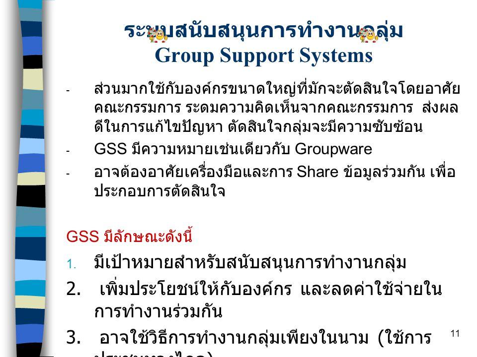 11 ระบบสนับสนุนการทำงานกลุ่ม Group Support Systems - ส่วนมากใช้กับองค์กรขนาดใหญ่ที่มักจะตัดสินใจโดยอาศัย คณะกรรมการ ระดมความคิดเห็นจากคณะกรรมการ ส่งผล ดีในการแก้ไขปัญหา ตัดสินใจกลุ่มจะมีความซับซ้อน - GSS มีความหมายเช่นเดียวกับ Groupware - อาจต้องอาศัยเครื่องมือและการ Share ข้อมูลร่วมกัน เพื่อ ประกอบการตัดสินใจ GSS มีลักษณะดังนี้ 1.