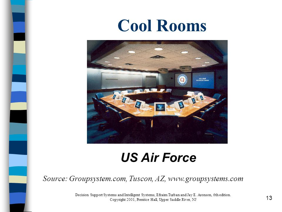 13 Cool Rooms Source: Groupsystem.com, Tuscon, AZ, www.groupsystems.com US Air Force Decision Support Systems and Intelligent Systems, Efraim Turban and Jay E.