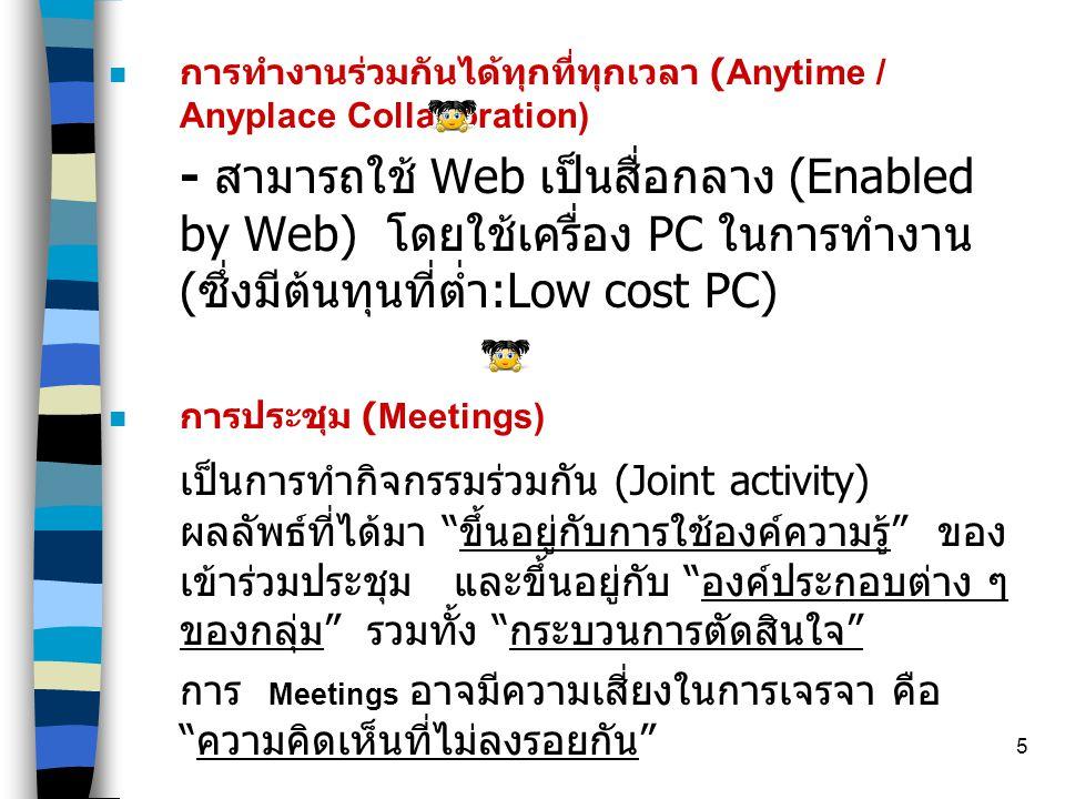 5  การทำงานร่วมกันได้ทุกที่ทุกเวลา (Anytime / Anyplace Collaboration) - สามารถใช้ Web เป็นสื่อกลาง (Enabled by Web) โดยใช้เครื่อง PC ในการทำงาน ( ซึ่งมีต้นทุนที่ต่ำ :Low cost PC) n การประชุม (Meetings) เป็นการทำกิจกรรมร่วมกัน (Joint activity) ผลลัพธ์ที่ได้มา ขึ้นอยู่กับการใช้องค์ความรู้ ของ เข้าร่วมประชุม และขึ้นอยู่กับ องค์ประกอบต่าง ๆ ของกลุ่ม รวมทั้ง กระบวนการตัดสินใจ การ Meetings อาจมีความเสี่ยงในการเจรจา คือ ความคิดเห็นที่ไม่ลงรอยกัน