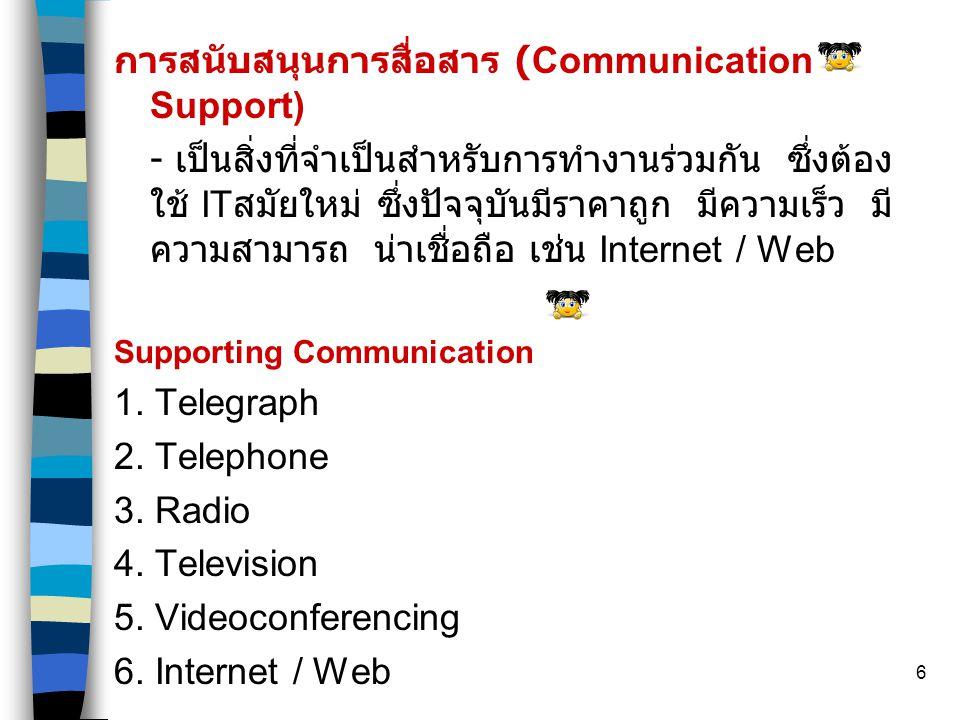 6 การสนับสนุนการสื่อสาร (Communication Support) - เป็นสิ่งที่จำเป็นสำหรับการทำงานร่วมกัน ซึ่งต้อง ใช้ IT สมัยใหม่ ซึ่งปัจจุบันมีราคาถูก มีความเร็ว มี ความสามารถ น่าเชื่อถือ เช่น Internet / Web Supporting Communication 1.