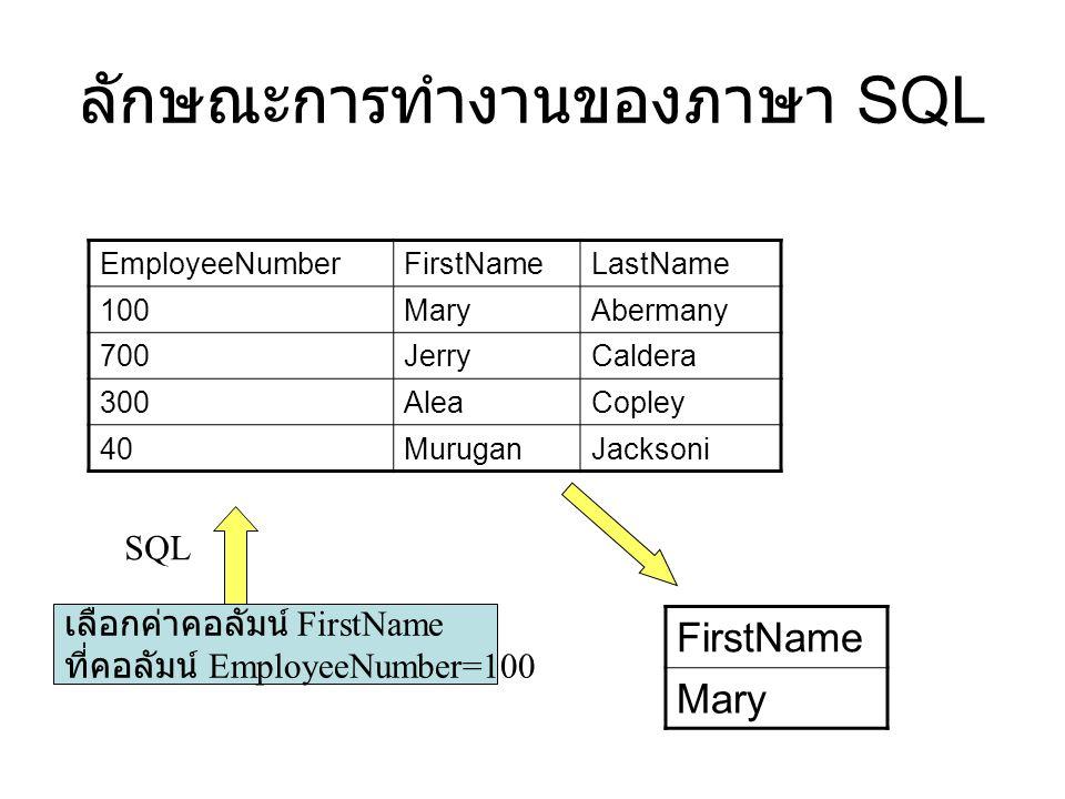 ลักษณะการทำงานของภาษา SQL EmployeeNumberFirstNameLastName 100MaryAbermany 700JerryCaldera 300AleaCopley 40MuruganJacksoni เลือกค่าคอลัมน์ FirstName ที