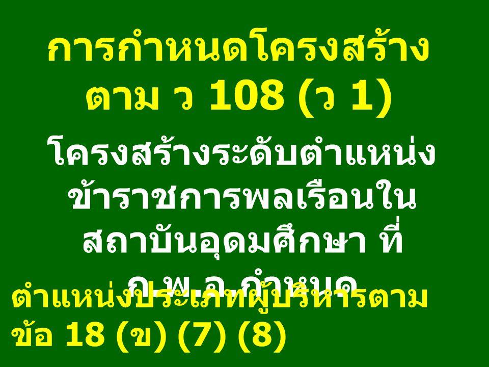 การกำหนดโครงสร้าง ตาม ว 108 ( ว 1) โครงสร้างระดับตำแหน่ง ข้าราชการพลเรือนใน สถาบันอุดมศึกษา ที่ ก.