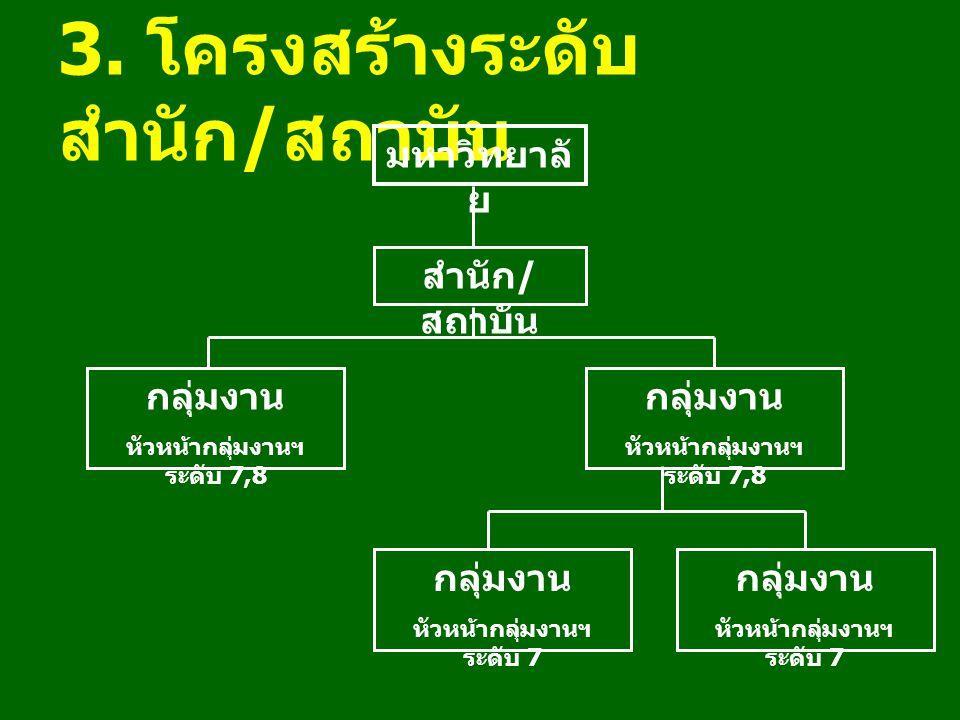 3. โครงสร้างระดับ สำนัก / สถาบัน มหาวิทยาลั ย สำนัก / สถาบัน กลุ่มงาน หัวหน้ากลุ่มงานฯ ระดับ 7,8 กลุ่มงาน หัวหน้ากลุ่มงานฯ ระดับ 7,8 กลุ่มงาน หัวหน้าก