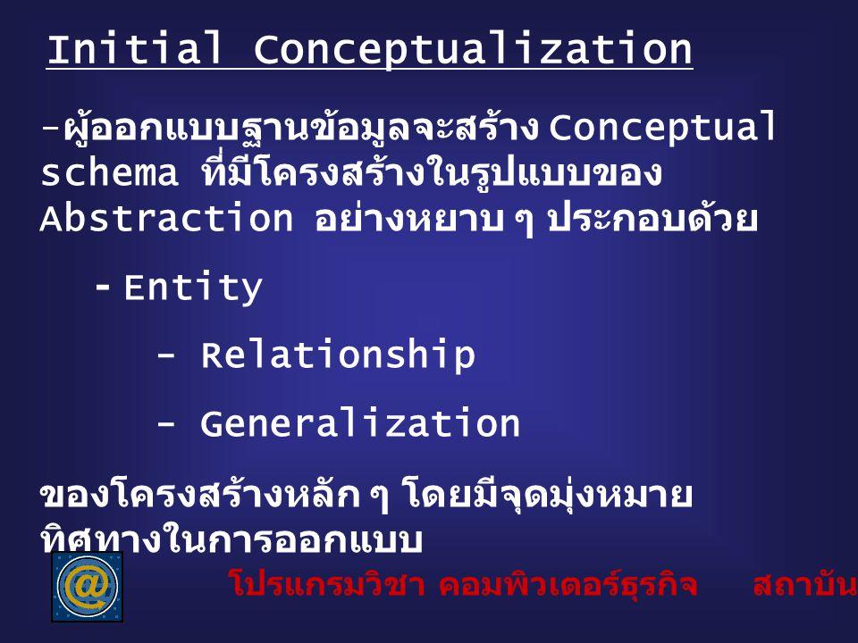 Initial Conceptualization - ผู้ออกแบบฐานข้อมูลจะสร้าง Conceptual schema ที่มีโครงสร้างในรูปแบบของ Abstraction อย่างหยาบ ๆ ประกอบด้วย - Entity - Relati