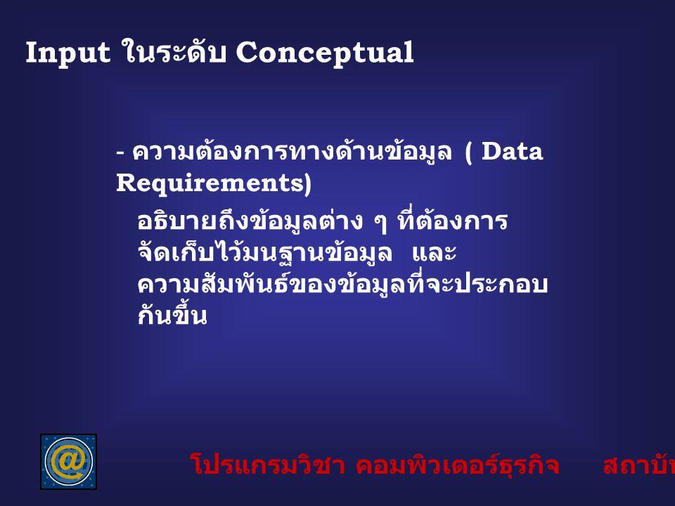 Input ในระดับ Conceptual - ความต้องการทางด้านข้อมูล ( Data Requirements) อธิบายถึงข้อมูลต่าง ๆ ที่ต้องการ จัดเก็บไว้มนฐานข้อมูล และ ความสัมพันธ์ของข้อ
