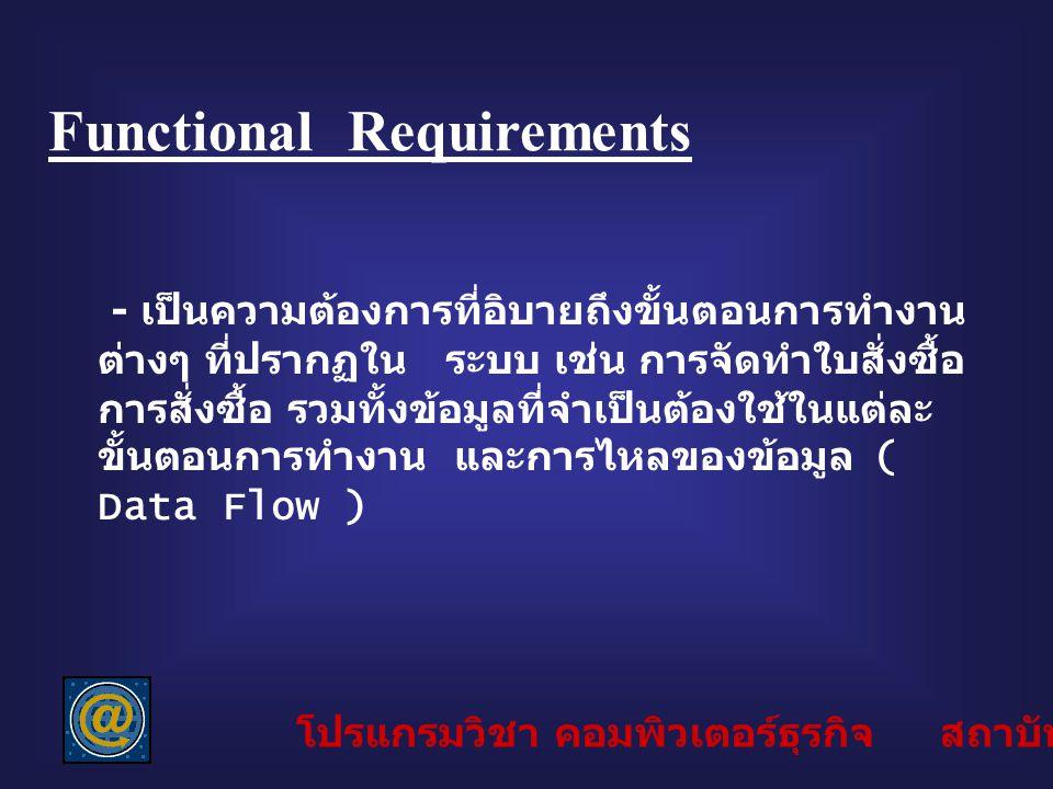 Functional Requirements - เป็นความต้องการที่อิบายถึงขั้นตอนการทำงาน ต่างๆ ที่ปรากฏใน ระบบ เช่น การจัดทำใบสั่งซื้อ การสั่งซื้อ รวมทั้งข้อมูลที่จำเป็นต้