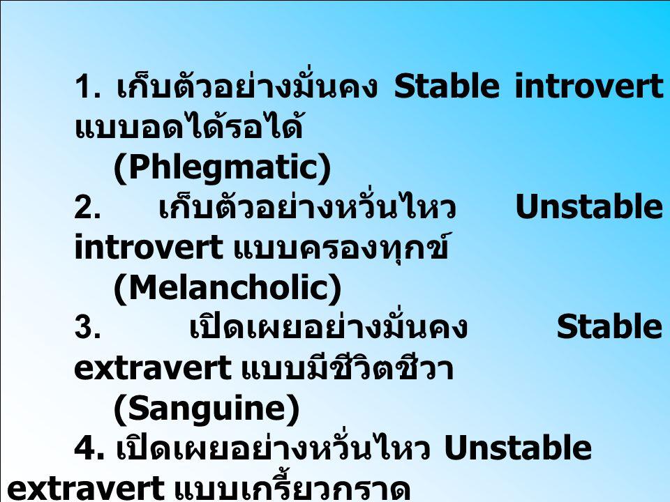 1. เก็บตัวอย่างมั่นคง Stable introvert แบบอดได้รอได้ (Phlegmatic) 2. เก็บตัวอย่างหวั่นไหว Unstable introvert แบบครองทุกข์ (Melancholic) 3. เปิดเผยอย่า