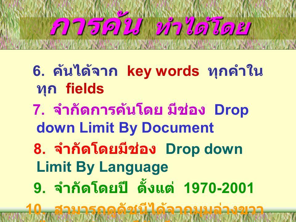 การค้น ทำได้โดย 6. ค้นได้จาก key words ทุกคำใน ทุก fields 7. จำกัดการค้นโดย มีช่อง Drop down Limit By Document 8. จำกัดโดยมีช่อง Drop down Limit By La