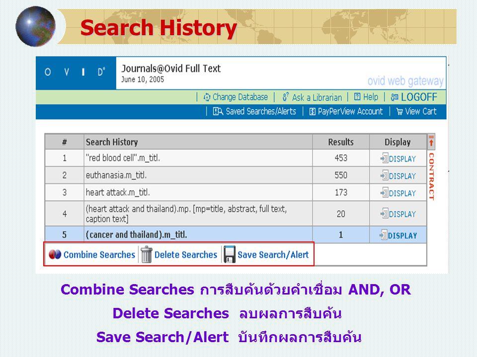 Search History Save Search/Alert บันทึกผลการสืบค้น Delete Searches ลบผลการสืบค้น Combine Searches การสืบค้นด้วยคำเชื่อม AND, OR