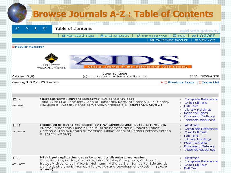 Browse Journals A-Z : Table of Contents
