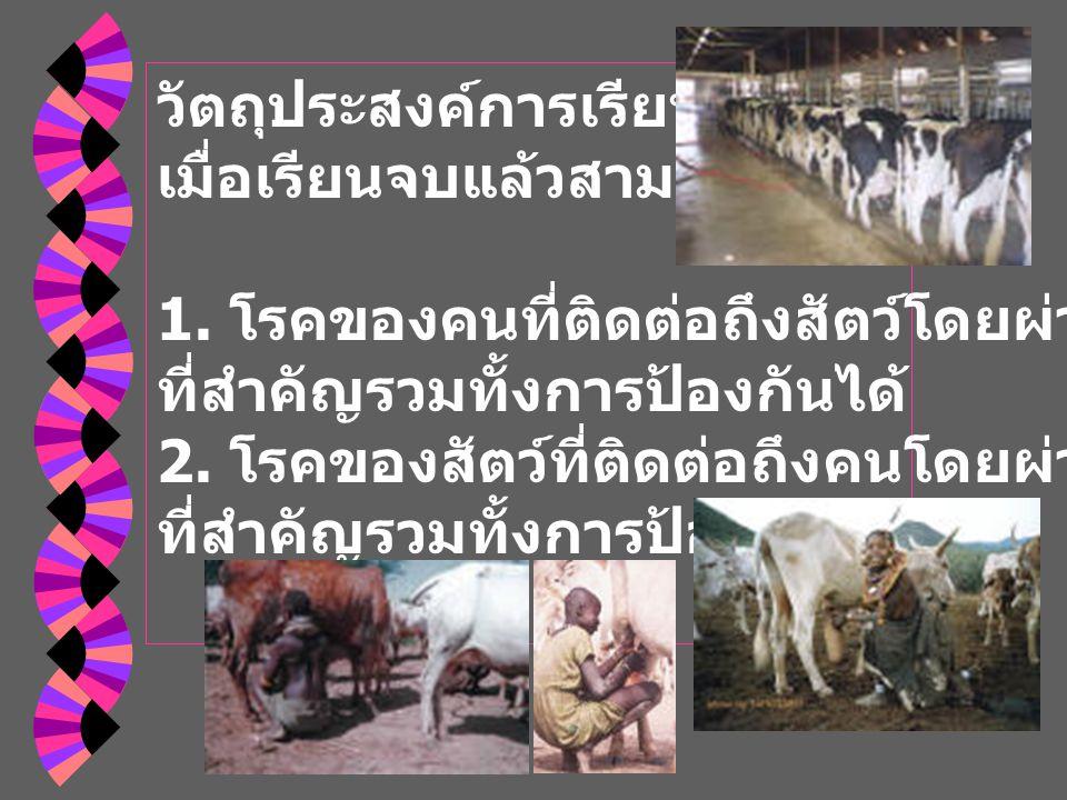 โรค และชนิดของการติด เชื้อจากน้ำนม 1.จากสัตว์ป่วยผ่านทางน้ำนม 2.