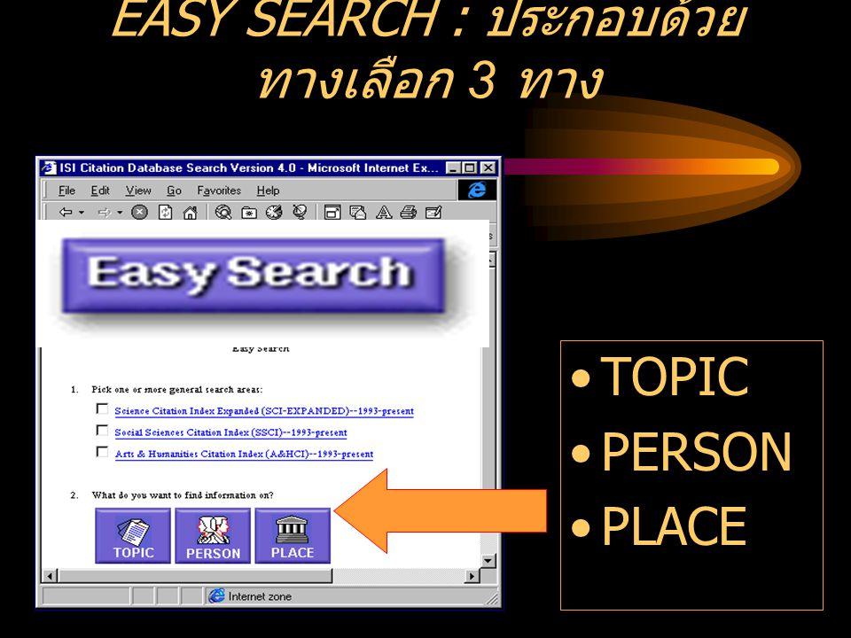 EASY SEARCH : ประกอบด้วย ทางเลือก 3 ทาง •TOPIC •PERSON •PLACE