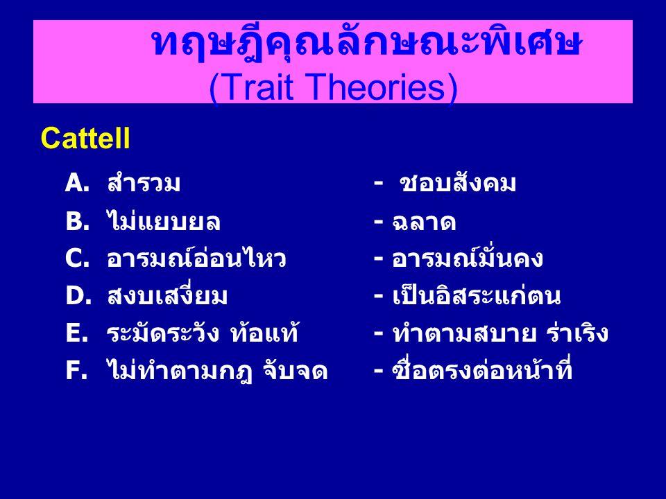 ทฤษฎีคุณลักษณะพิเศษ (Trait Theories) Cattell A.สำรวม - ชอบสังคม B.ไม่แยบยล - ฉลาด C.อารมณ์อ่อนไหว - อารมณ์มั่นคง D.สงบเสงี่ยม - เป็นอิสระแก่ตน E.ระมัด