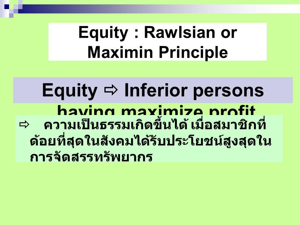 Equity : Rawlsian or Maximin Principle Equity  Inferior persons having maximize profit.