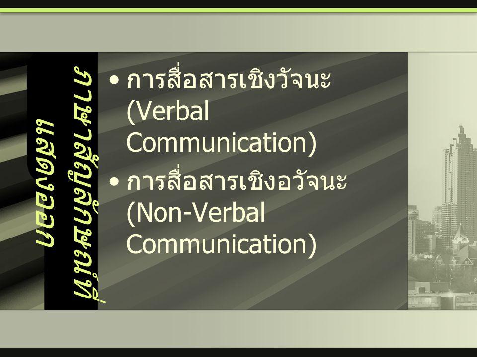 ภาษาสัญลักษณ์ที่ แสดงออก • การสื่อสารเชิงวัจนะ (Verbal Communication) • การสื่อสารเชิงอวัจนะ (Non-Verbal Communication)