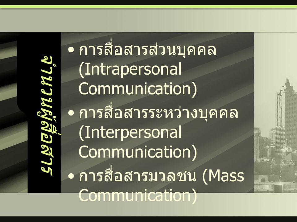 จำนวนผู้สื่อสาร • การสื่อสารส่วนบุคคล (Intrapersonal Communication) • การสื่อสารระหว่างบุคคล (Interpersonal Communication) • การสื่อสารมวลชน (Mass Com