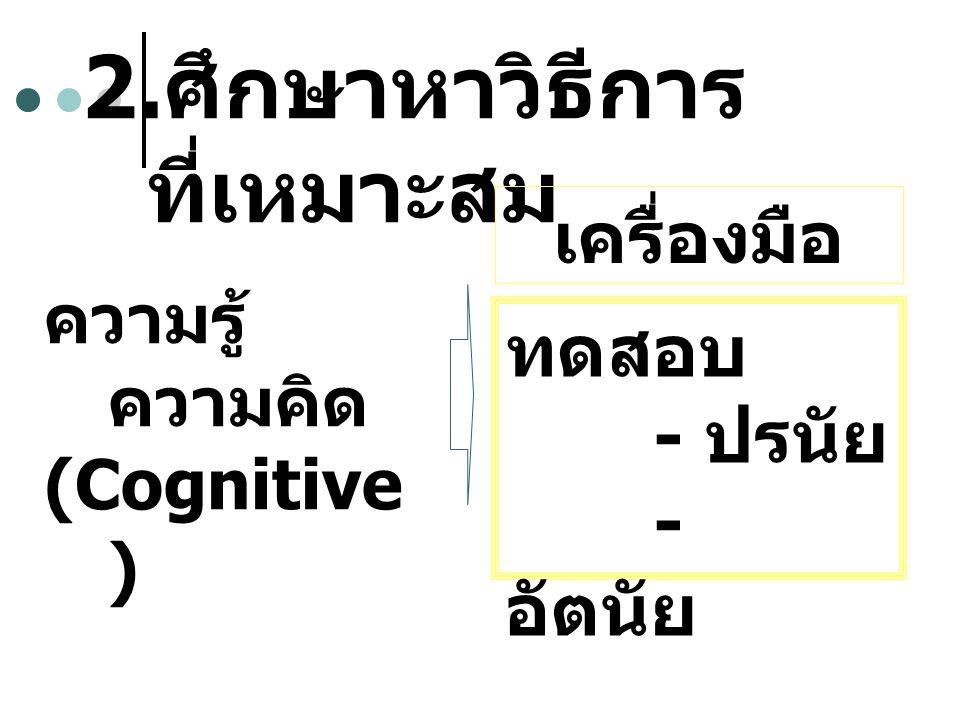 2. ศึกษาหาวิธีการ ที่เหมาะสม ความรู้ ความคิด (Cognitive ) เครื่องมือ ทดสอบ - ปรนัย - อัตนัย