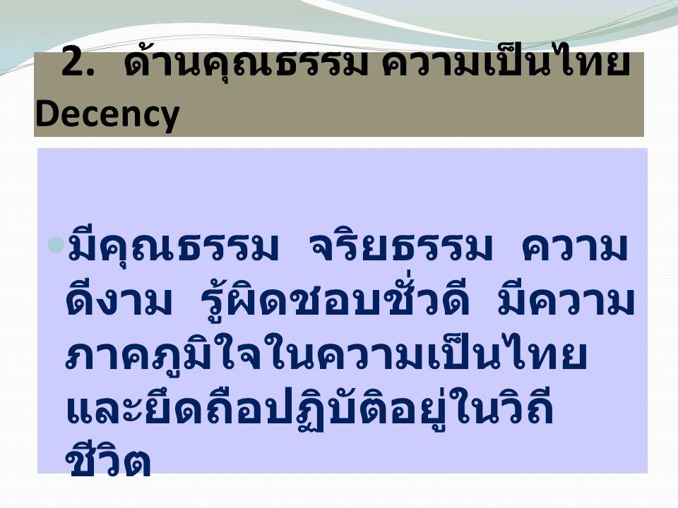 2. ด้านคุณธรรม ความเป็นไทย Decency  มีคุณธรรม จริยธรรม ความ ดีงาม รู้ผิดชอบชั่วดี มีความ ภาคภูมิใจในความเป็นไทย และยึดถือปฏิบัติอยู่ในวิถี ชีวิต
