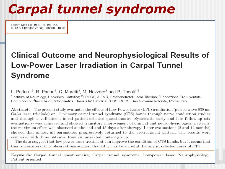 LASER: Therapeutic Carpal tunnel syndrome