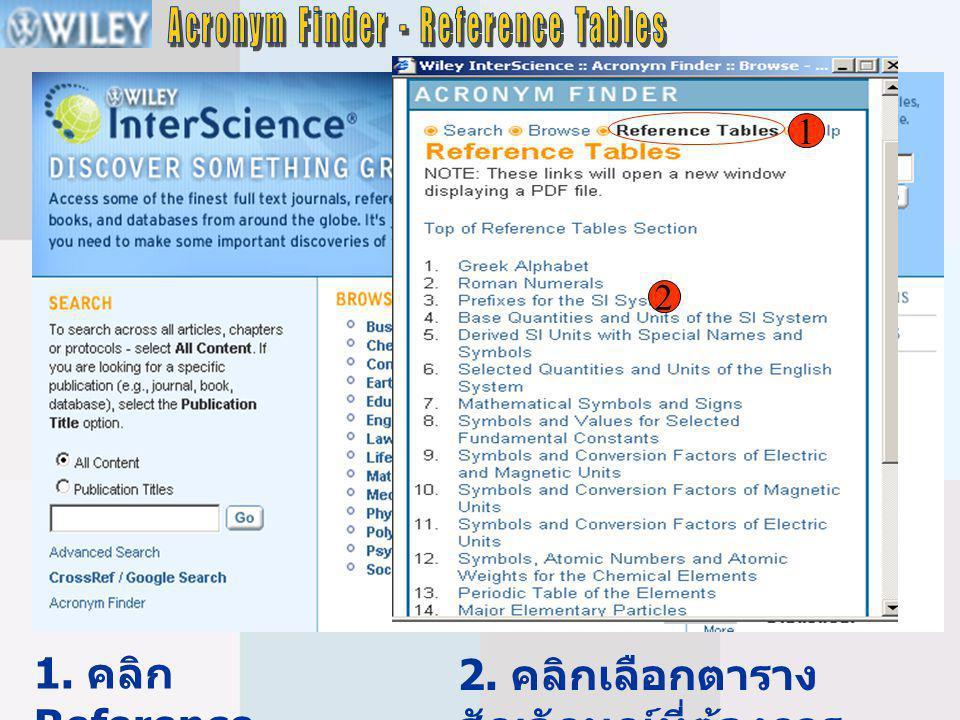 2 1. คลิก Reference Tables 2. คลิกเลือกตาราง สัญลักษณ์ที่ต้องการ 1