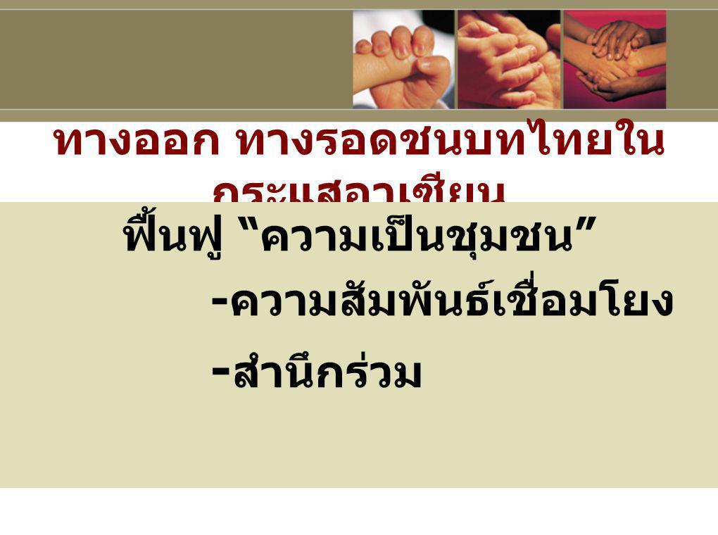 """ทางออก ทางรอดชนบทไทยใน กระแสอาเซียน ฟื้นฟู """" ความเป็นชุมชน """" - ความสัมพันธ์เชื่อมโยง - สำนึกร่วม"""
