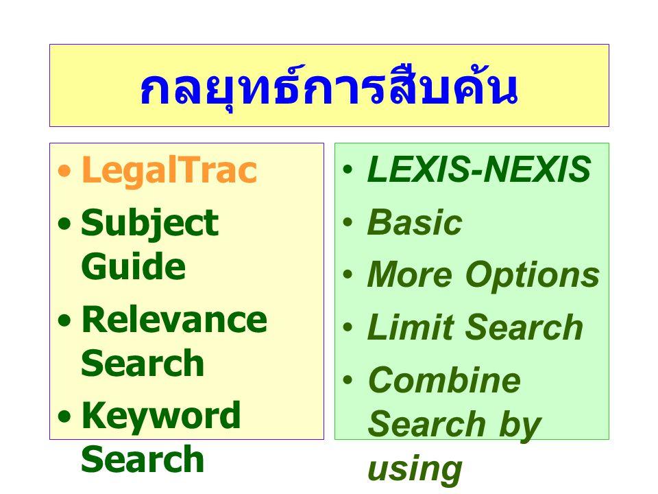 กลยุทธ์การสืบค้น •LegalTrac •Subject Guide •Relevance Search •Keyword Search •Advanced Search •LEXIS-NEXIS •Basic •More Options •Limit Search •Combine Search by using connectors