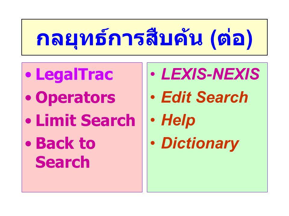 กลยุทธ์การสืบค้น ( ต่อ ) •LegalTrac •Operators •Limit Search •Back to Search •LEXIS-NEXIS •Edit Search •Help •Dictionary