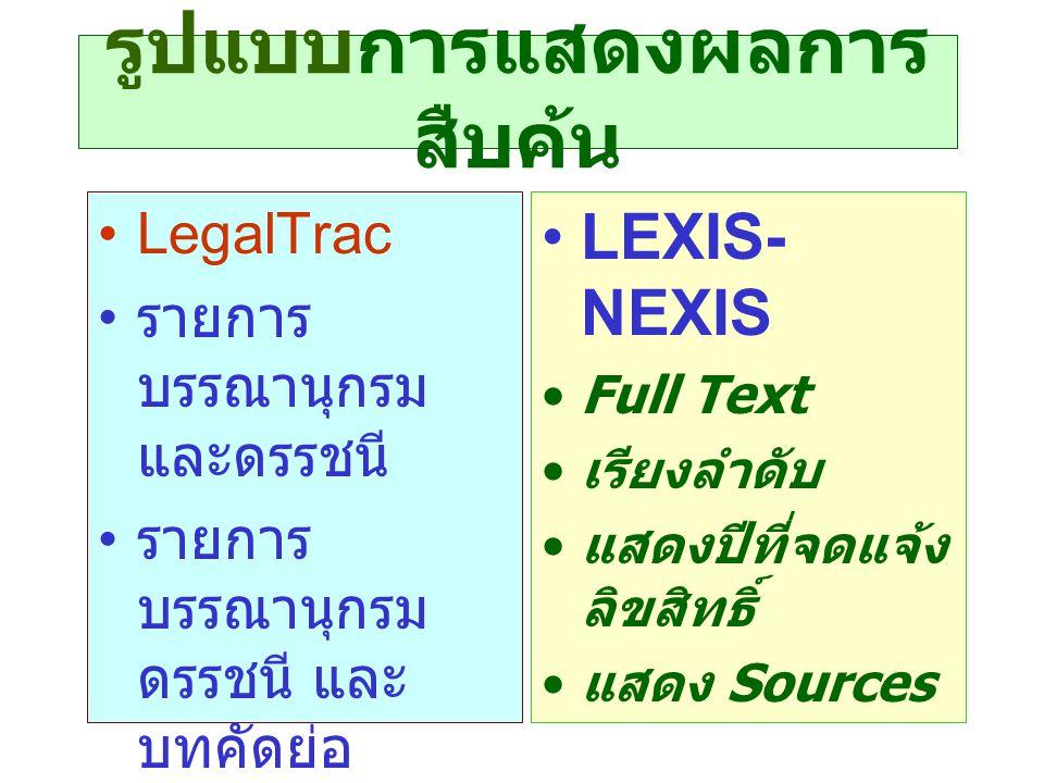 รูปแบบการแสดงผลการ สืบค้น •LegalTrac • รายการ บรรณานุกรม และดรรชนี • รายการ บรรณานุกรม ดรรชนี และ บทคัดย่อ • บรรณานุกรม ดรรชนี บทคัดย่อและ ตัวเต็ม •LEXIS- NEXIS •Full Text • เรียงลำดับ • แสดงปีที่จดแจ้ง ลิขสิทธิ์ • แสดง Sources