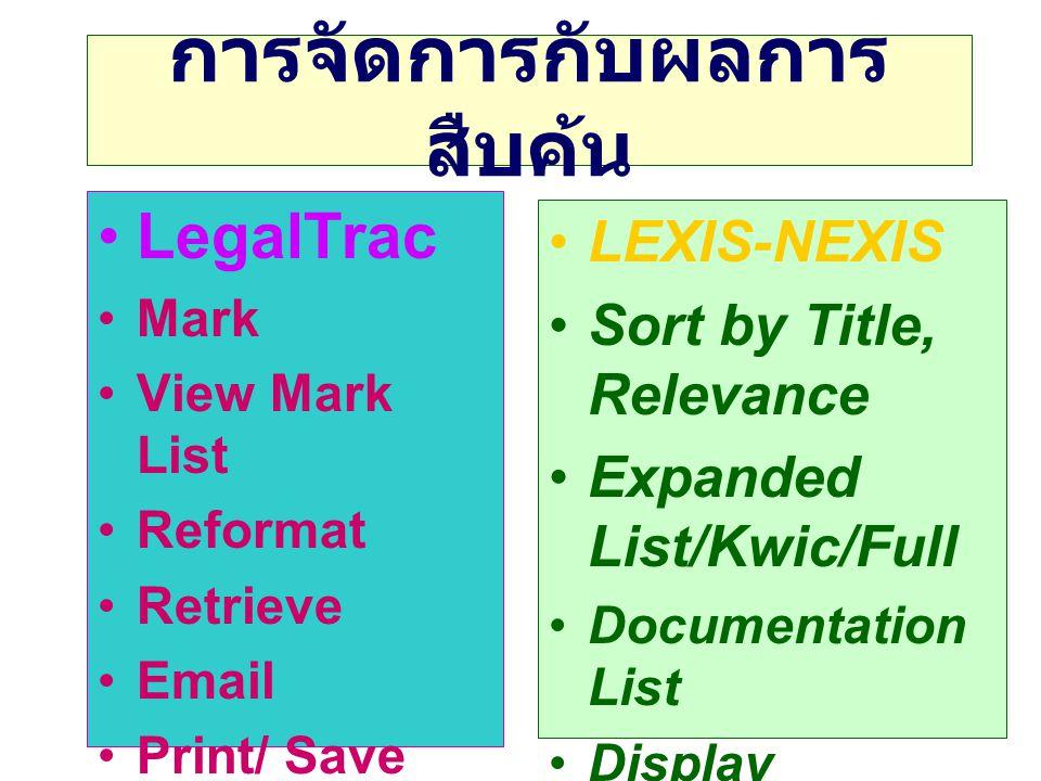 การจัดการกับผลการ สืบค้น •LegalTrac •Mark •View Mark List •Reformat •Retrieve •Email •Print/ Save •LEXIS-NEXIS •Sort by Title, Relevance •Expanded List/Kwic/Full •Documentation List •Display Document •E-Mail •Print /Save