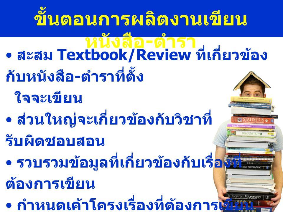 ขั้นตอนการผลิตงานเขียน หนังสือ - ตำรา • สะสม Textbook/Review ที่เกี่ยวข้อง กับหนังสือ - ตำราที่ตั้ง ใจจะเขียน • ส่วนใหญ่จะเกี่ยวข้องกับวิชาที่ รับผิดชอบสอน • รวบรวมข้อมูลที่เกี่ยวข้องกับเรื่องที่ ต้องการเขียน • กำหนดเค้าโครงเรื่องที่ต้องการเขียน • กำหนดจำนวนบท • กำหนดหัวข้อย่อยในแต่ละบท
