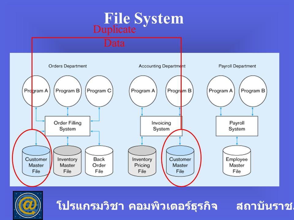 ปัญหาของระบบแฟ้มข้อมูล ( File System) 1.Data Redundancy เป็นปัญหาที่เกิดจากการ ซ้ำซ้อนของข้อมูล โปรแกรมวิชา คอมพิวเตอร์ธุรกิจ สถาบันราชภัฏลำปาง