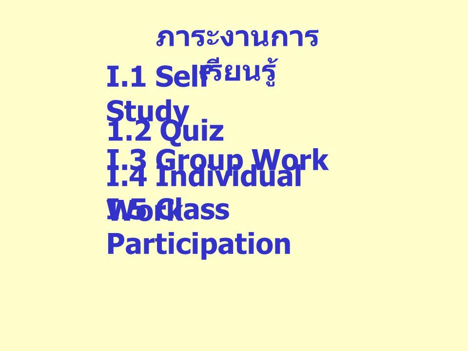 การวัดผลการ เรียน I.1 Pretest I.2 Group Work I.3 Individual Work 1.4 Quiz 25% 1.5 Final Examination 25% 50%