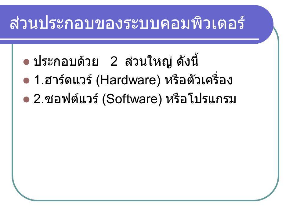 ส่วนประกอบของระบบคอมพิวเตอร์  ประกอบด้วย 2 ส่วนใหญ่ ดังนี้  1. ฮาร์ดแวร์ (Hardware) หรือตัวเครื่อง  2. ซอฟต์แวร์ (Software) หรือโปรแกรม