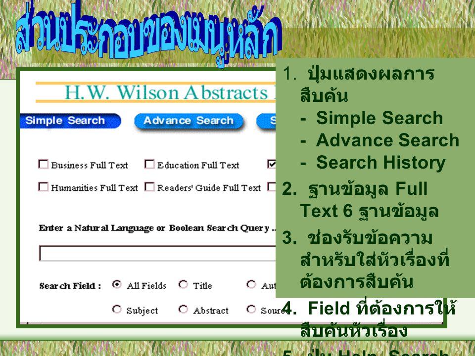 1. ปุ่มแสดงผลการ สืบค้น - Simple Search - Advance Search - Search History 2. ฐานข้อมูล Full Text 6 ฐานข้อมูล 3. ช่องรับข้อความ สำหรับใส่หัวเรื่องที่ ต