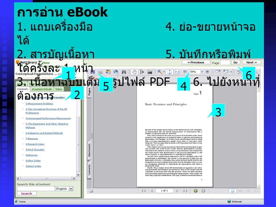 การอ่าน eBook 1. แถบเครื่องมือ 4. ย่อ - ขยายหน้าจอ ได้ 2. สารบัญเนื้อหา 5. บันทึกหรือพิมพ์ ได้ครั้งละ 1 หน้า 3. เนื้อหาฉบับเต็มในรูปไฟล์ PDF 6. ไปยังห