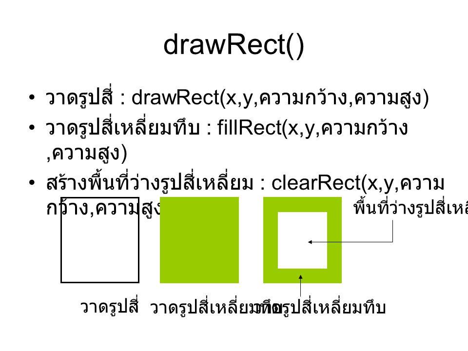 drawRect() • วาดรูปสี่ : drawRect(x,y, ความกว้าง, ความสูง ) • วาดรูปสี่เหลี่ยมทึบ : fillRect(x,y, ความกว้าง, ความสูง ) • สร้างพื้นที่ว่างรูปสี่เหลี่ยม : clearRect(x,y, ความ กว้าง, ความสูง ) วาดรูปสี่ วาดรูปสี่เหลี่ยมทึบ พื้นที่ว่างรูปสี่เหลี่ยม