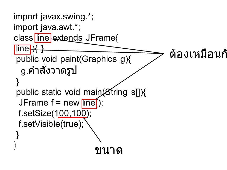import javax.swing.*; import java.awt.*; class line extends JFrame{ line(){ } public void paint(Graphics g){ g. คำสั่งวาดรูป } public static void main