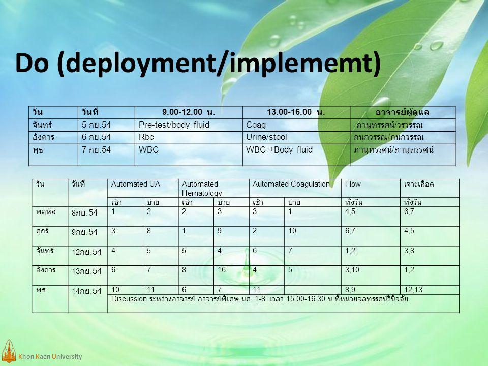 Khon Kaen University Do (deployment/implememt) วันวันที่ 9.00-12.00 น.13.00-16.00 น. อาจารย์ผู้ดูแล จันทร์ 5 กย.54 Pre-test/body fluidCoag ภานุทรรศน์