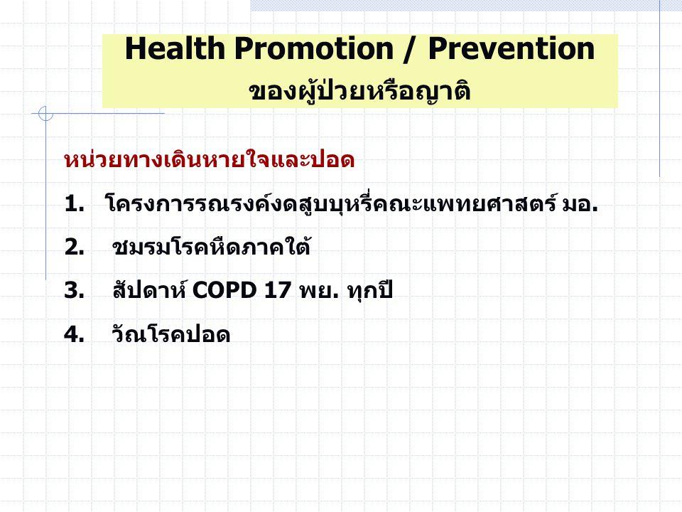 หน่วยทางเดินหายใจและปอด 1.โครงการรณรงค์งดสูบบุหรี่คณะแพทยศาสตร์ มอ.