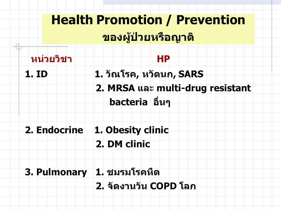 หน่วยวิชา HP 1.ID 1. วัณโรค, หวัดนก, SARS 2. MRSA และ multi-drug resistant bacteria อื่นๆ 2.