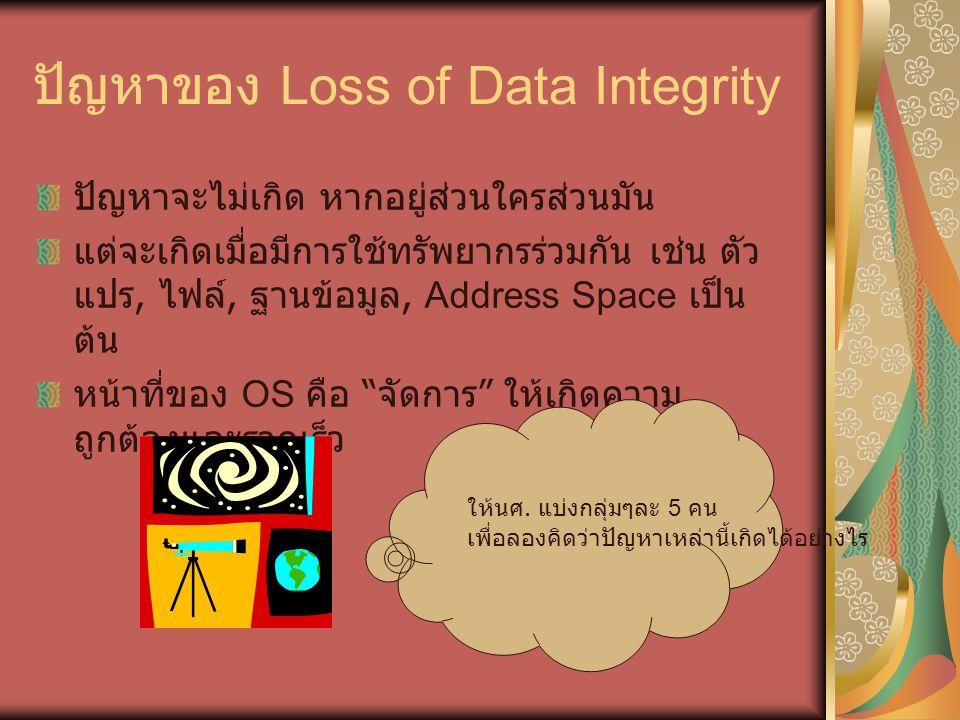 ปัญหาของ Loss of Data Integrity ปัญหาจะไม่เกิด หากอยู่ส่วนใครส่วนมัน แต่จะเกิดเมื่อมีการใช้ทรัพยากรร่วมกัน เช่น ตัว แปร, ไฟล์, ฐานข้อมูล, Address Space เป็น ต้น หน้าที่ของ OS คือ จัดการ ให้เกิดความ ถูกต้องและรวดเร็ว ให้นศ.