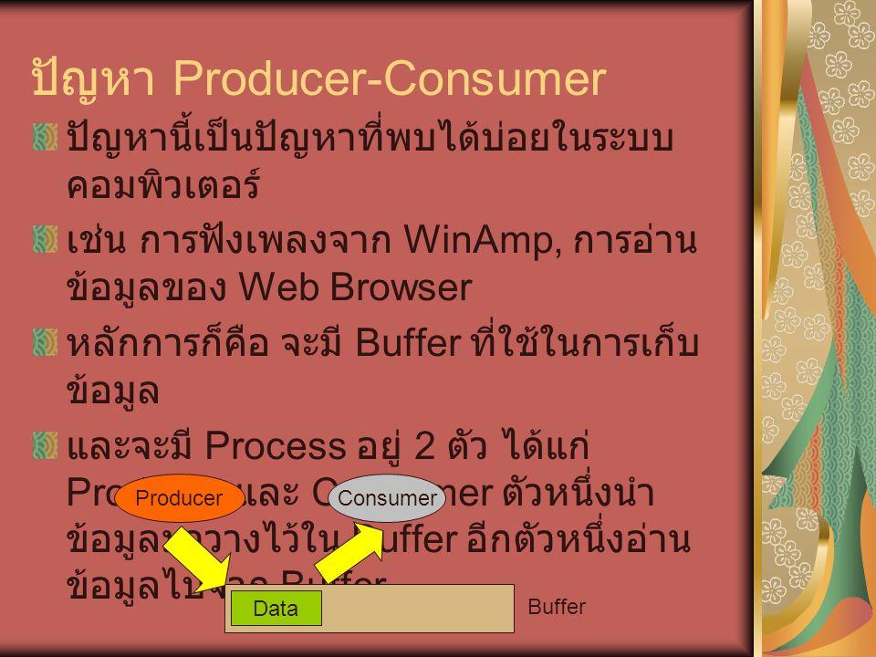 ปัญหา Producer-Consumer ปัญหานี้เป็นปัญหาที่พบได้บ่อยในระบบ คอมพิวเตอร์ เช่น การฟังเพลงจาก WinAmp, การอ่าน ข้อมูลของ Web Browser หลักการก็คือ จะมี Buffer ที่ใช้ในการเก็บ ข้อมูล และจะมี Process อยู่ 2 ตัว ได้แก่ Producer และ Consumer ตัวหนึ่งนำ ข้อมูลมาวางไว้ใน Buffer อีกตัวหนึ่งอ่าน ข้อมูลไปจาก Buffer Data Buffer ProducerConsumer