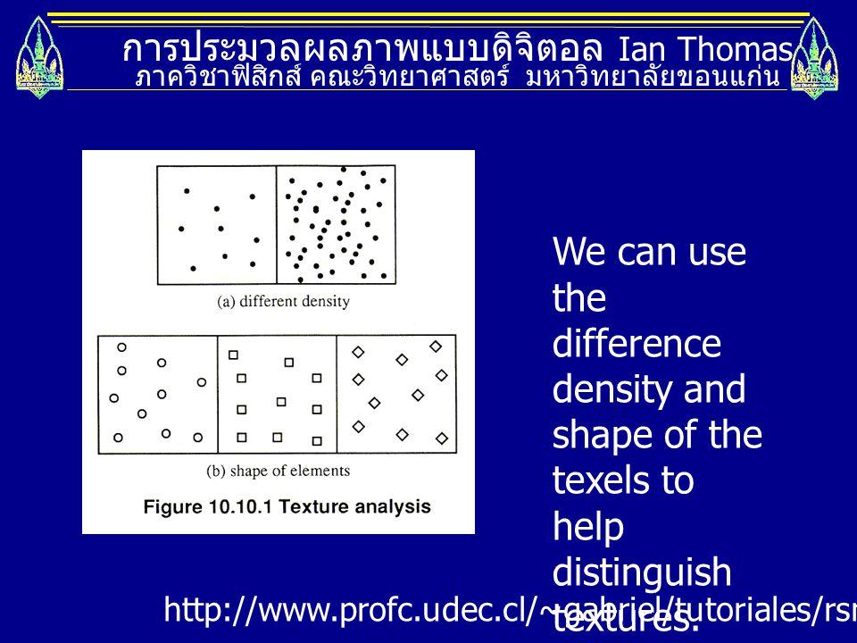 การประมวลผลภาพแบบดิจิตอล Ian Thomas ภาควิชาฟิสิกส์ คณะวิทยาศาสตร์ มหาวิทยาลัยขอนแก่น http://www.profc.udec.cl/~gabriel/tutoriales/rsnote/cp10/cp10-10.
