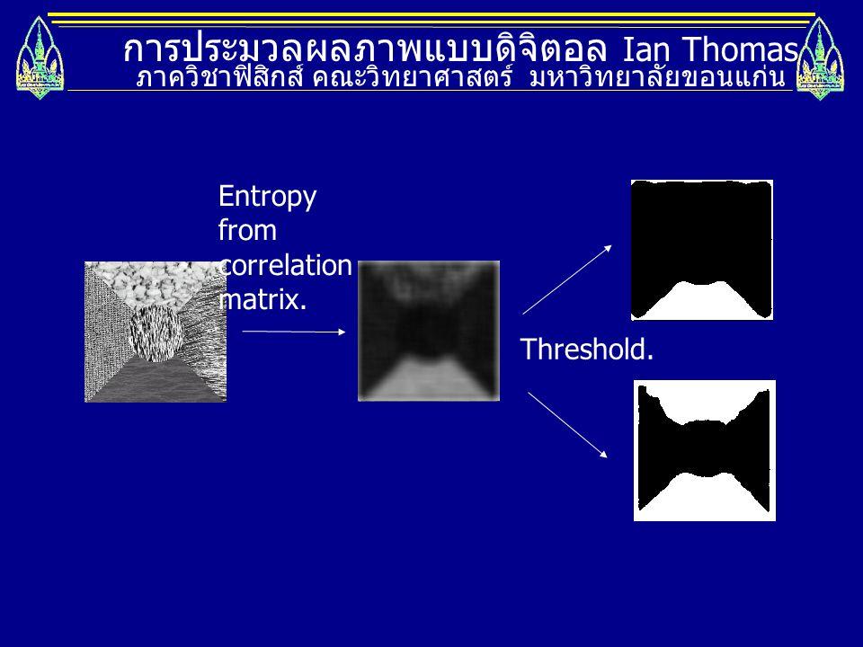 การประมวลผลภาพแบบดิจิตอล Ian Thomas ภาควิชาฟิสิกส์ คณะวิทยาศาสตร์ มหาวิทยาลัยขอนแก่น Entropy from correlation matrix. Threshold.
